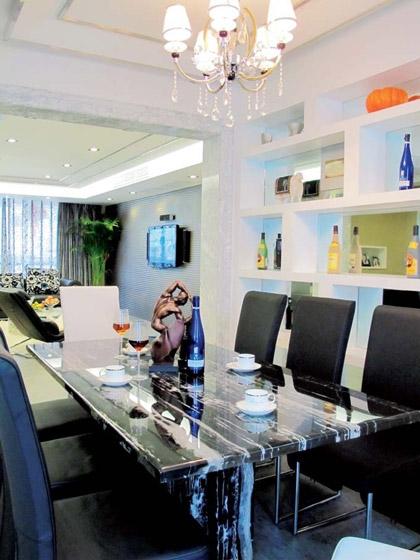 黑白大理石餐桌设计图片