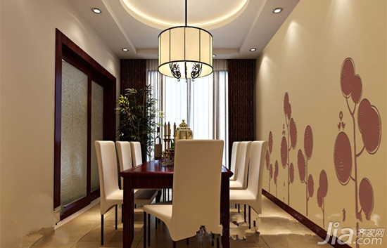 设计要点:咖啡色优雅而朴素配合硅藻泥墙面线性牡丹图案,庄重而不失雅