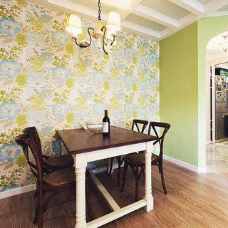 美式碎花餐厅背景墙设计效果图