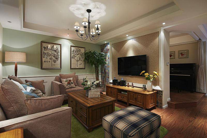 美式风格三居室温馨130平米装修效果图