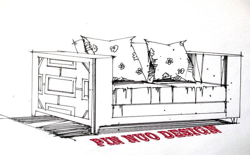 单体室外效果图线稿 手绘单体线稿手绘单体家具线