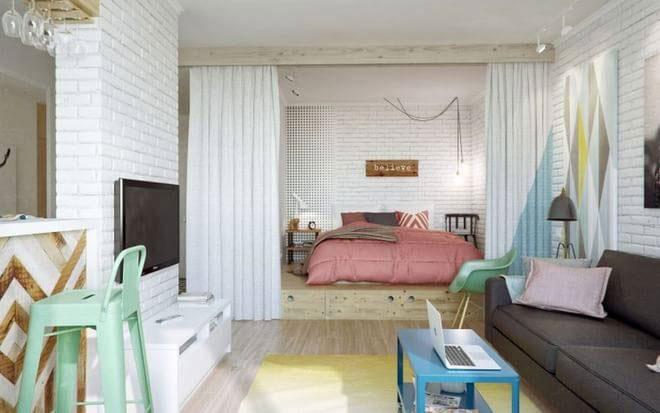 北欧风格一居室40平米效果图