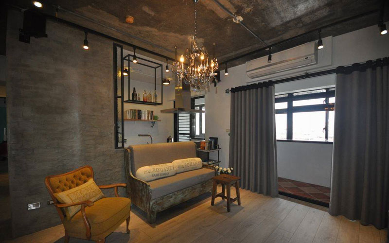 混搭风格二居室70平米效果图