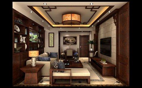 5-10万100平米中式二居室装修效果图,惬意新中式,品茗图片