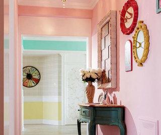 粉色清新玄关设计