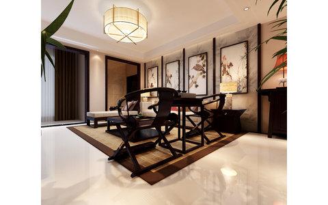 古朴中式装修效果图,室内设计效果图-齐家装修网图片