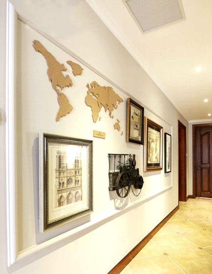 创意地图元素装饰玄关背景墙