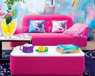 枚红色系客厅沙发