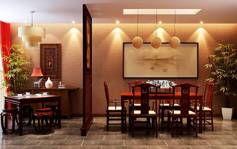 简单中式餐厅隔断
