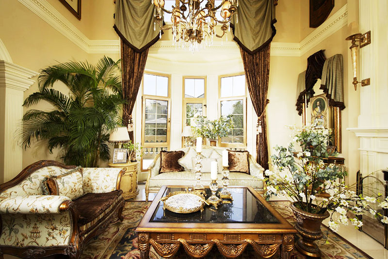 欧式客厅绿色植物图片