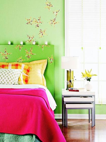绿色系卧室设计