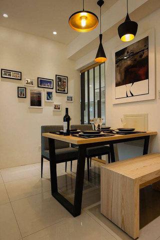 现代简约风格二居室原木色60平米效果图