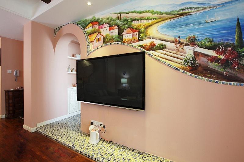 田园温馨电视背景墙设计图片
