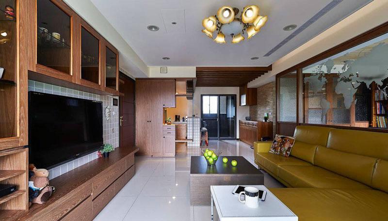 美式风格三居室100平米效果图