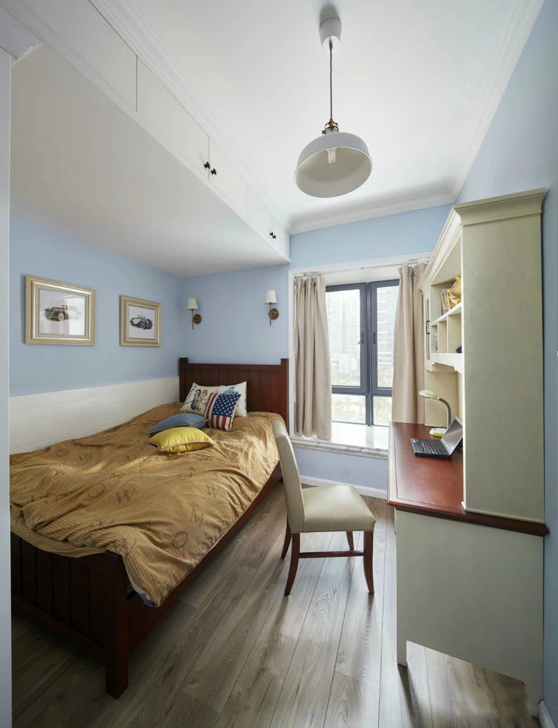 5-10万90平米美式二居室装修效果图,美式混搭 两室一图片