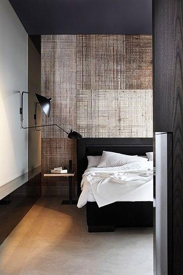 卧室创意木板背景墙设计图片