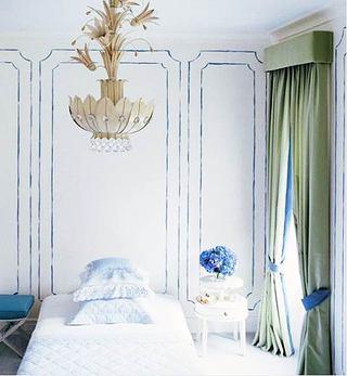 蓝色床头设计