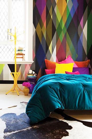 绚烂色调床头背景墙
