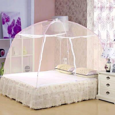 此款式蚊帐借着弧形弹性玻璃纤维支架的张力,使得它比方形蚊帐具有更