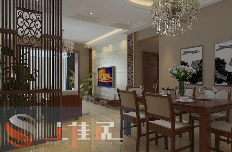 元素的花格做背景墙,最主要的还是靠家具软装来体现现代中式求内敛
