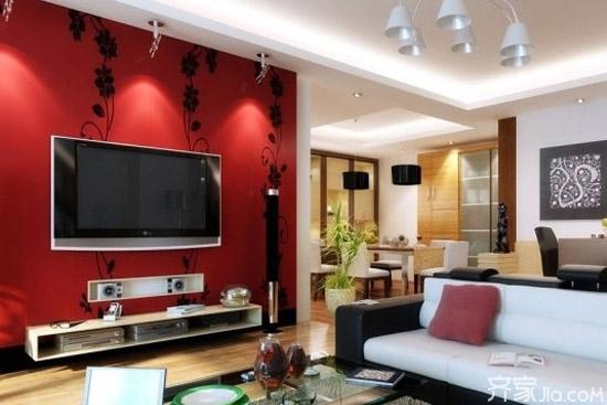 现代时尚的电视背景墙装饰风格,采用彩色不锈钢板金属材料装饰,能带给