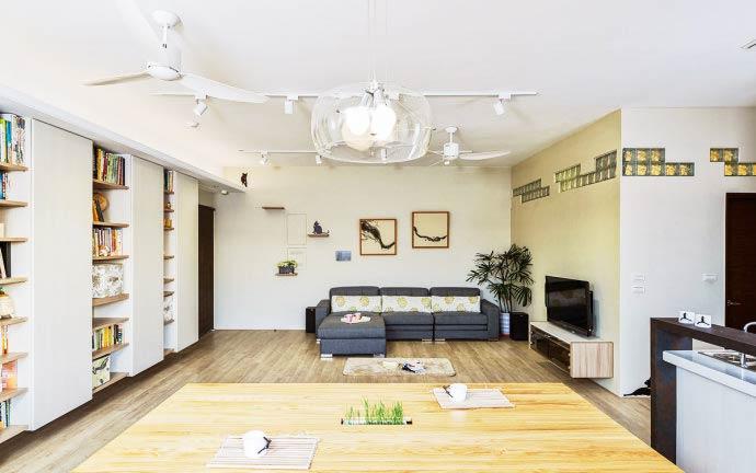 93平米简约原木风客厅设计