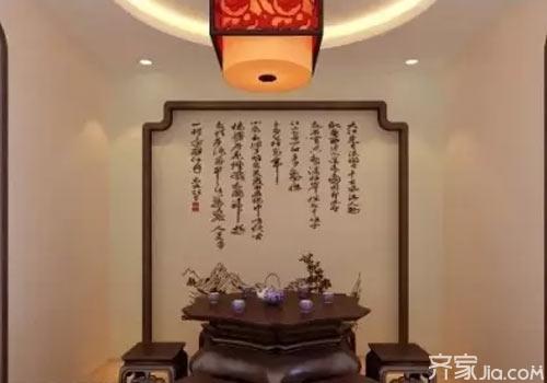 中式硅藻泥电视背景墙 让你感悟浪漫东方情调图片
