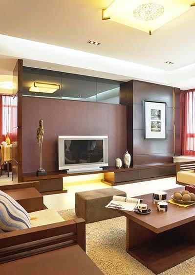 硬朗新中式电视背景墙效果图高清图片
