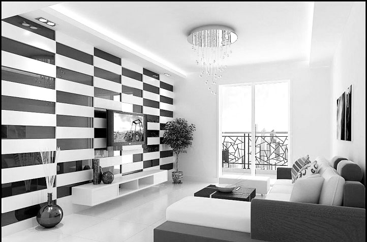 简约黑白客厅装修效果图