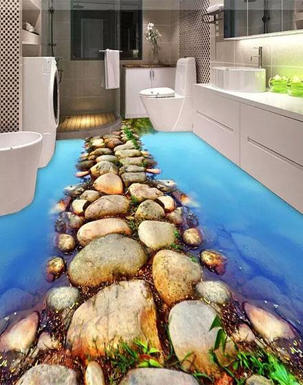 创意卫浴间3D地板纸