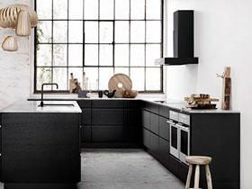 创意北欧风厨房效果图 不过时的经典黑白色