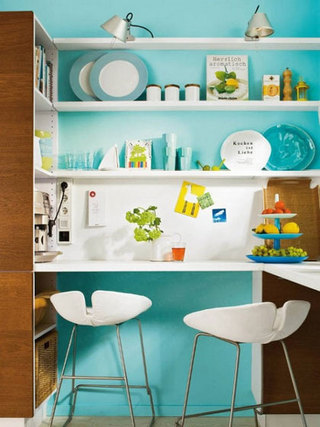 清新蓝色厨房图片