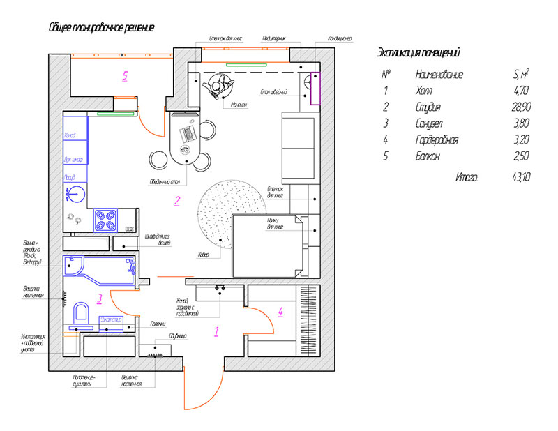 50平米缤纷简约家户型图