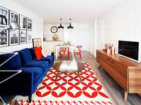 纽约两室一厅公寓 橘黄色点缀简约空间