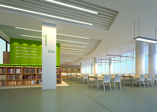图书馆室内吊顶设计效果图