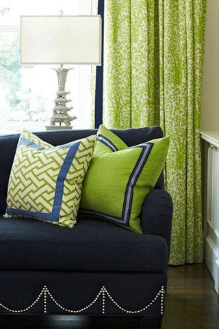 绿色窗帘效果图