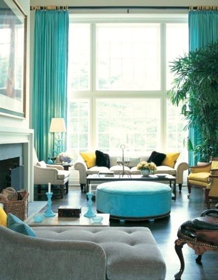 黄蓝主题客厅巧混搭轻复古