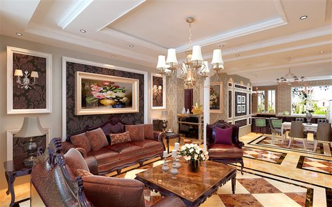 碧桂园天墅欧式风格装修效果图,室内设计效果图-齐家