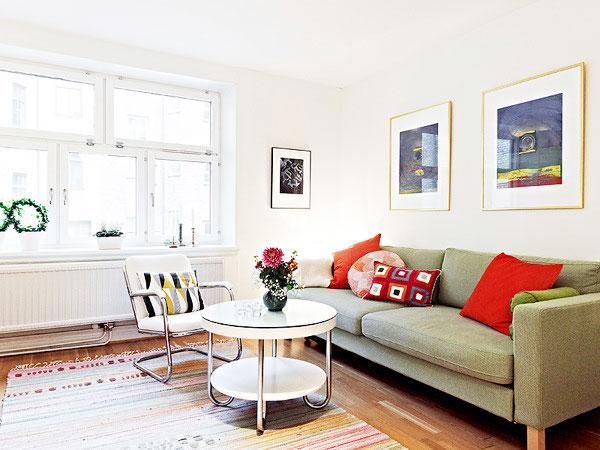简洁北欧风客厅 布艺沙发效果图
