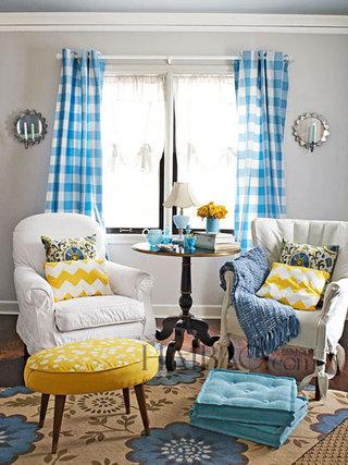 蓝白格子窗帘完美装饰
