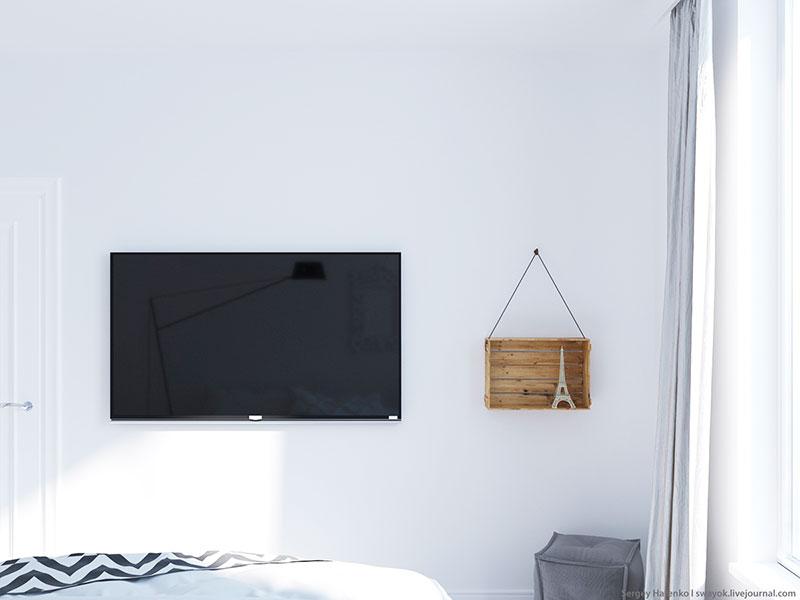 白色装修风格卧室电视背景墙设计