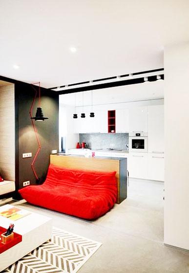 简约风格效果图客厅红色沙发