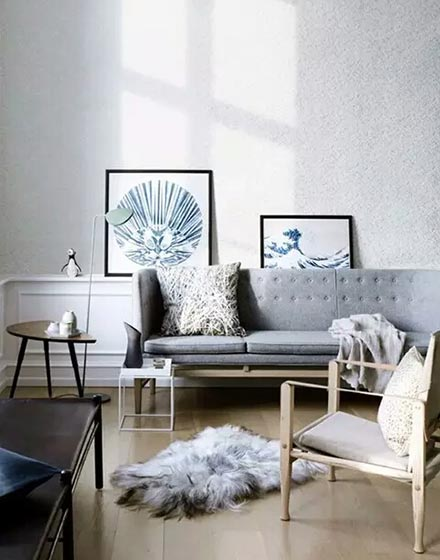 灰色简洁客厅布置效果图