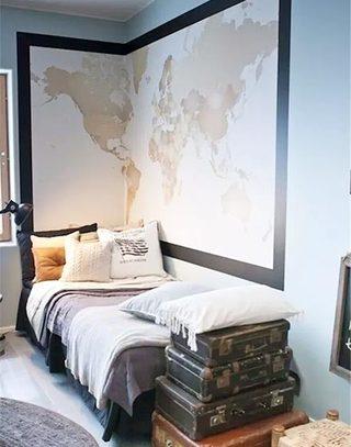 地图变身壁纸贴上卧室背景墙