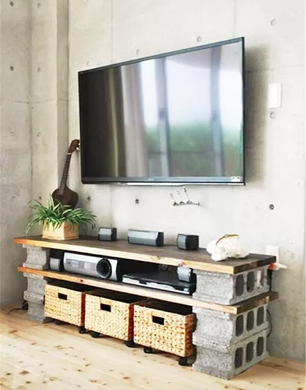 煤渣砖变身电视柜支撑