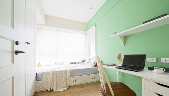 嫩绿色简约风 榻榻米书房设计