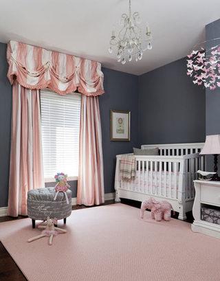 灰色粉色童趣婴儿房效果图