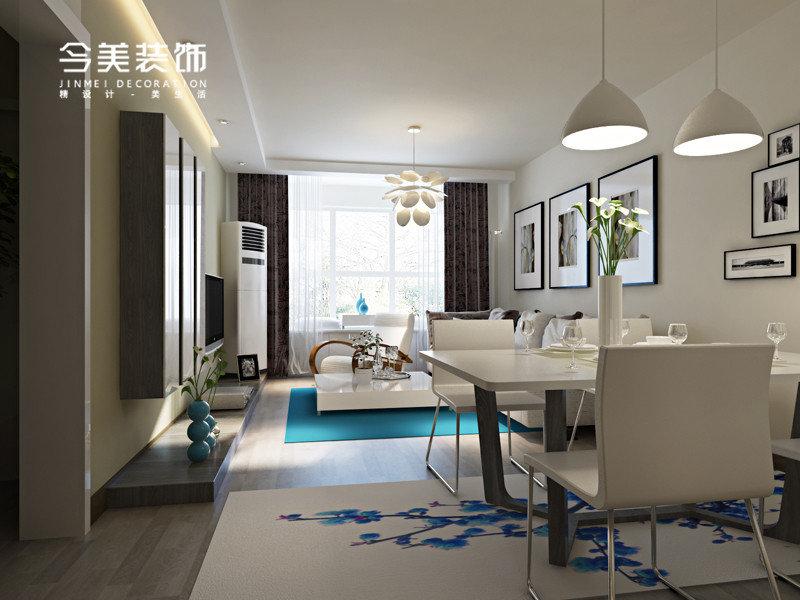 3 5万90平米简约三居室装修效果图,大溪地现代简约两居室装修案例高清图片