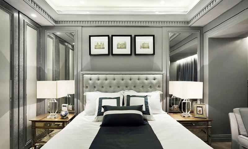 灰色系简欧风卧室床头背景墙设计
