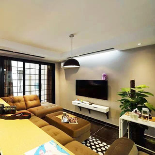 55平米的温馨生活客厅电视背景墙设计